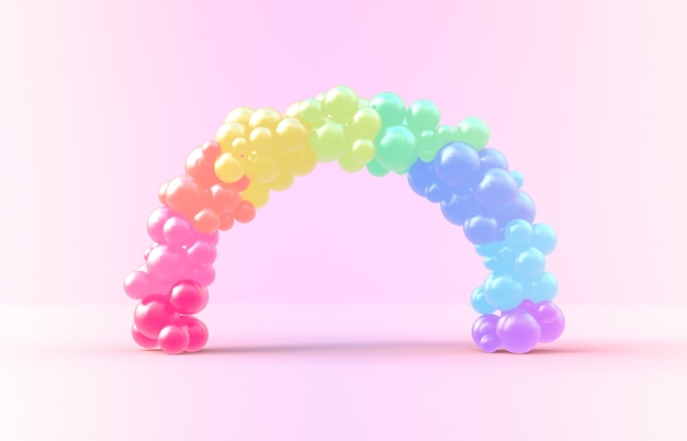 3d rendering. sweet rainbow arch frame with candy ballloons backdrop