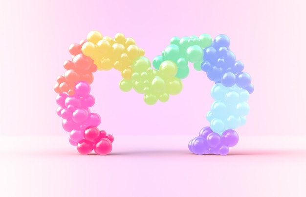 3d rendering. sweet rainbow heart frame with candy ballloons backdrop