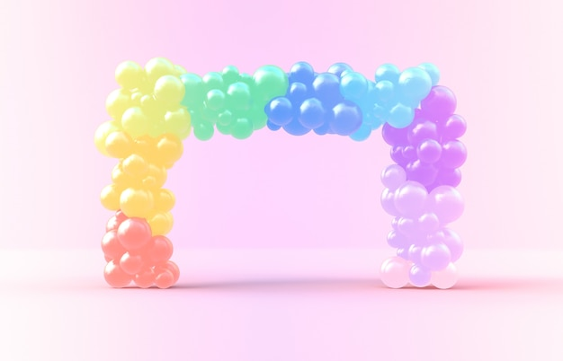 3d rendering. sweet rainbow square frame with candy ballloons backdrop