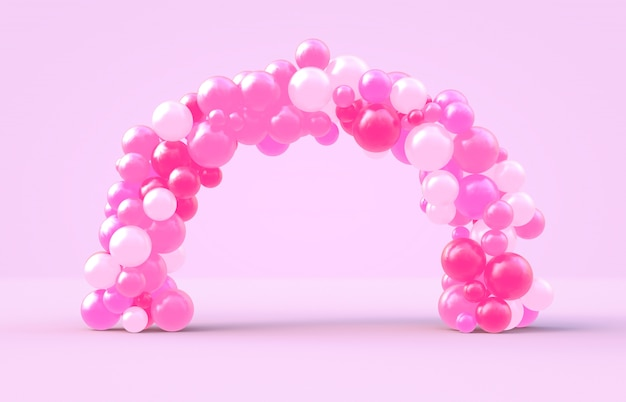 3d rendering. sweet valentine's day arch frame with pink candy ballloons backdrop