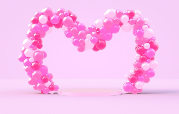 3d rendering. sweet valentine's day heart shape frame with pink candy ballloons backdrop