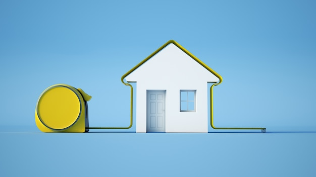 3d rendering of a tape measure around a house