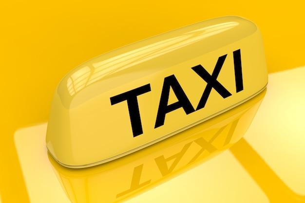 노란색 배경에 3d 렌더링 택시 기호