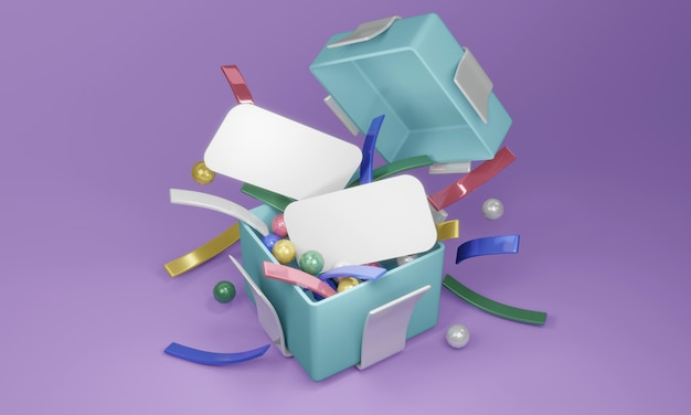3d rendering template design of top view open gift box show confetti and blank papers to put text