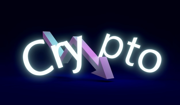 3d rendering text crypto with an arrow pointing down in the middle of the word on background