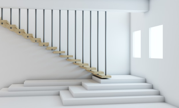 3d 렌더링, 백악관의 문 나무 미니멀리스트 계단