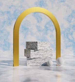 3dレンダリング、化粧品やその他の製品の空を背景にした豪華な背景の白い大理石の台座の画像。