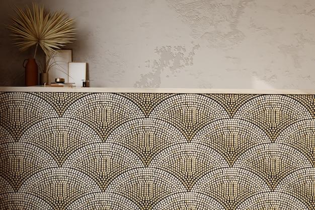 3d рендеринг. стена облицована плиткой в современном интерьере лофт.