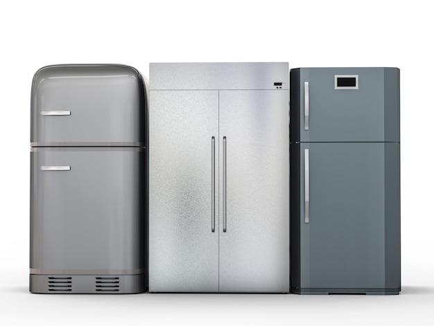 연속으로 3개의 디자인 냉장고를 렌더링하는 3d