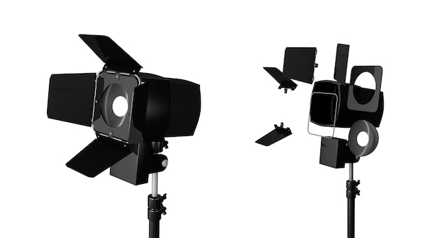 3d rendering of three lights with reflectors with the head turned down and up