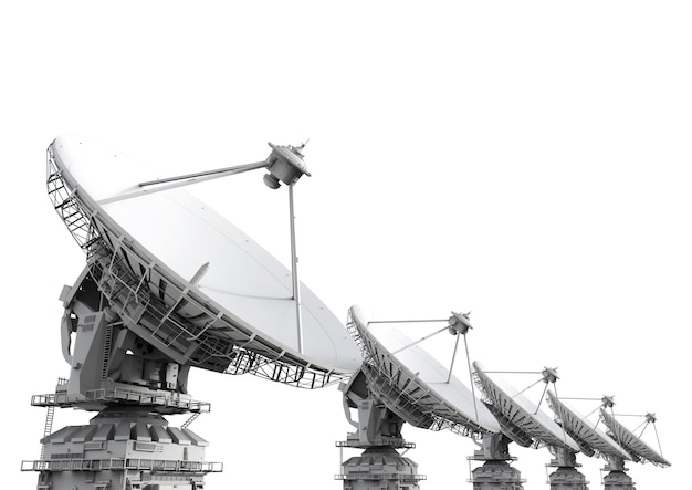 3d рендеринг трех спутниковых антенн на белом фоне