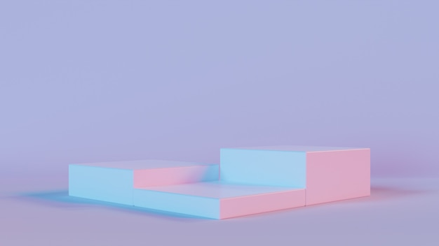 3d rendering of three square podium