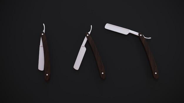 3dレンダリング。黒に木製の柄が付いた3本のストレートかみそり。