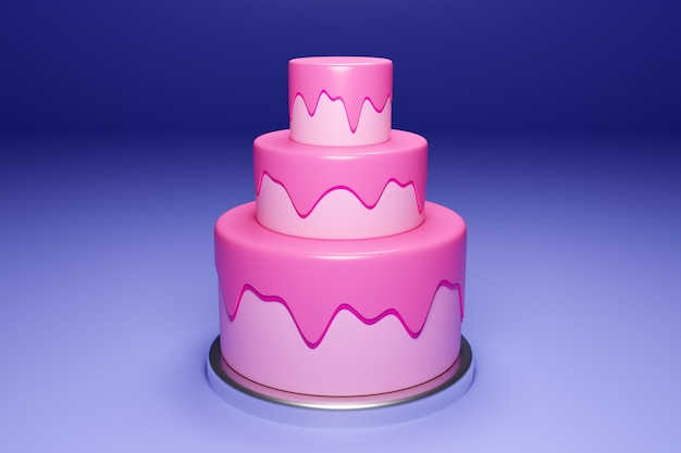 Трехуровневый свадебный торт 3d рендеринг