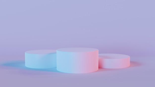 3d rendering of three white circle podium