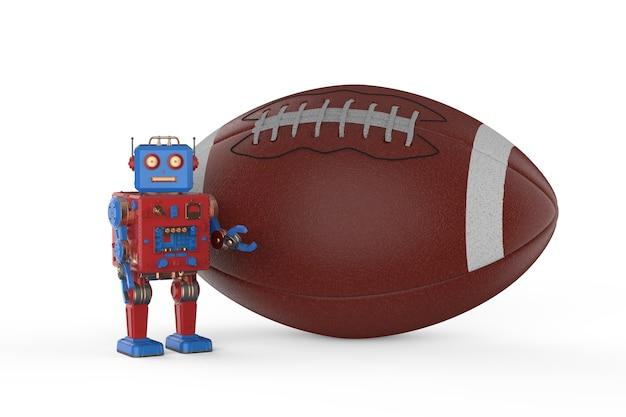 축구 공을 들고 3d 렌더링 틴토이 로봇