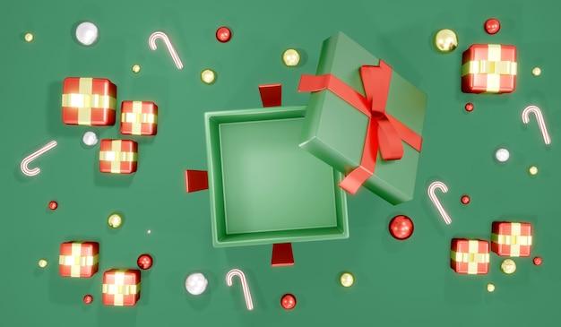 クリスマスバナーテンプレートの背景の概念で3dレンダリング上面図ギフトボックスが空の内部を開きます