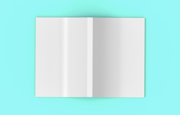 3d rendering. top view of a gray spreading empty cover book on soft blue color background.