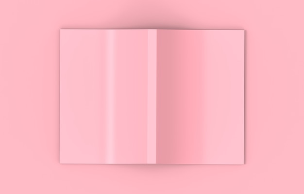 3d-рендеринг. вид сверху мягкого розового распространения пустой обложки книги на фоне розового цвета.