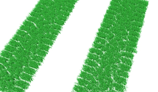 3d rendering track from car tires overgrown with green grass