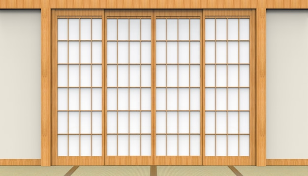3d rendering. traditional oriental japanese white paper door and tatami floor room design background.