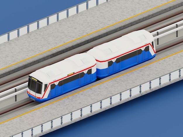 3d rendering train in city