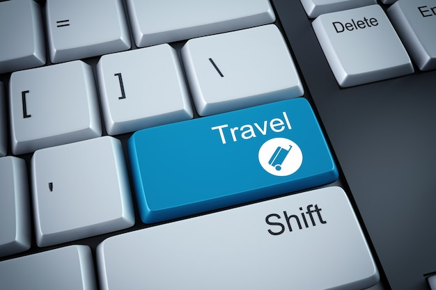 3d rendering of travel button on keyboard
