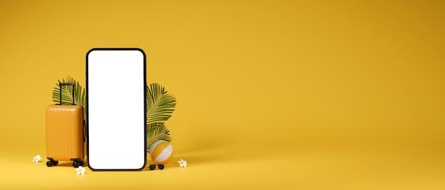 スマートフォンの手荷物ボールと黄色の背景の3dイラストのコピースペースと3dレンダリング旅行の概念