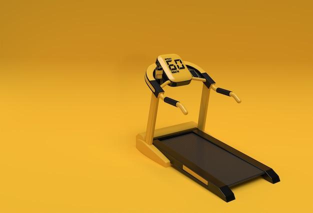 黄色の背景に3dレンダリングトレッドミルまたは実行中のマシン