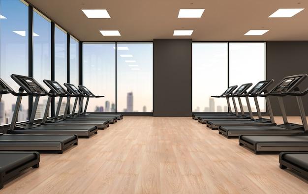 3d-рендеринг беговых дорожек или беговых тренажеров в фитнес-зале