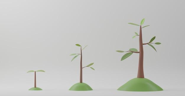 3d 렌더링. 흰색 바탕에 나무 성장 다이어그램입니다. 단계 식물 성장 진화의 개념.