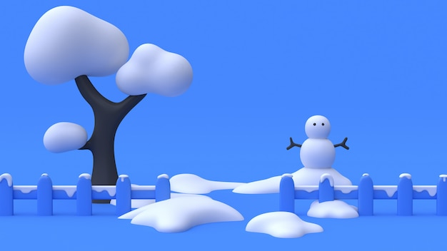 3d rendering tree snowman-snow fence abstract cartoon