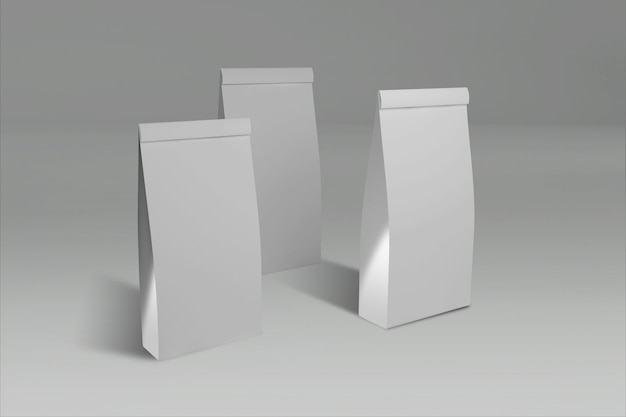 3d rendering of tree white papers box with a closed lid on gray