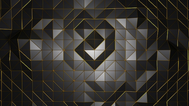 3d rendering triangle geometric shape black color abstract background