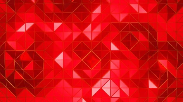 3d 렌더링 삼각형 기하학적 모양 붉은 색 추상적 인 배경