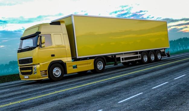 3d рендеринг грузовика на дороге