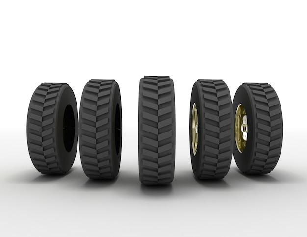 3d 렌더링 트럭 타이어 개념입니다. 3d 렌더링된 그림