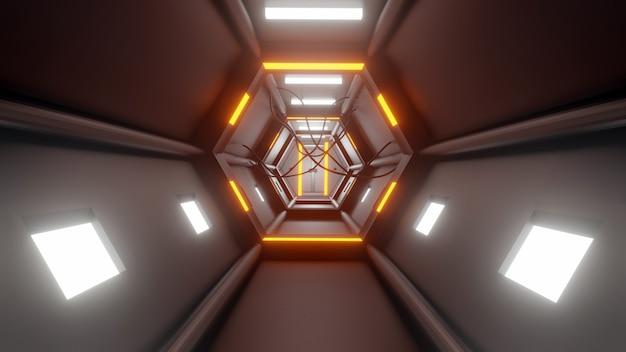 3d-рендеринг туннель высокие технологии научно-фантастический абстрактный фон