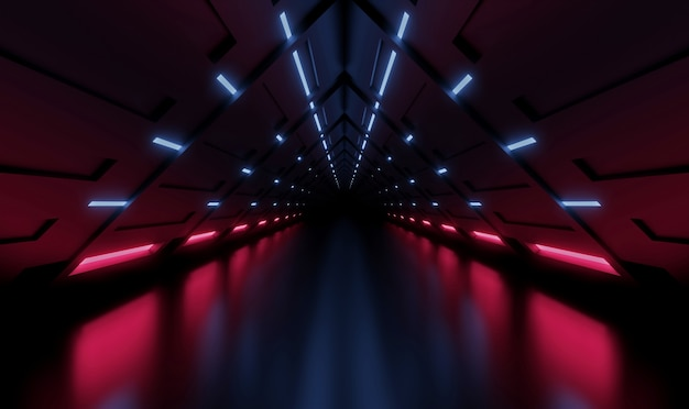 3d rendering tunnel spaceship blue and pink interior, corridor