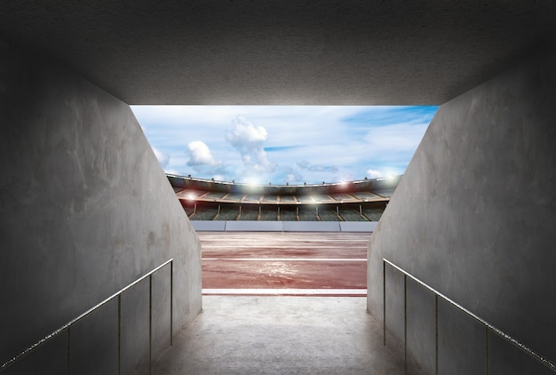 3d rendering tunnel in stadium with running track