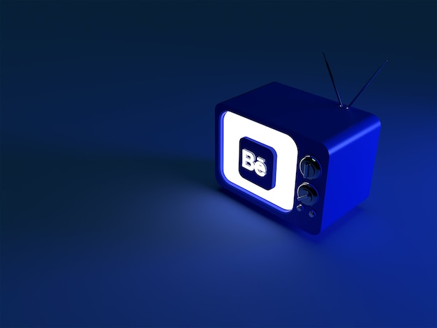 3d rendering of a tv with glowing behance logo