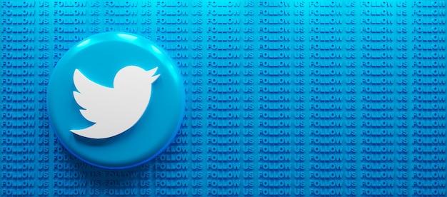 3d 렌더링 트위터 로고를 팔로우하세요 텍스트 배경