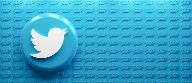 메시지 아이콘이 있는 3d 렌더링 트위터 로고