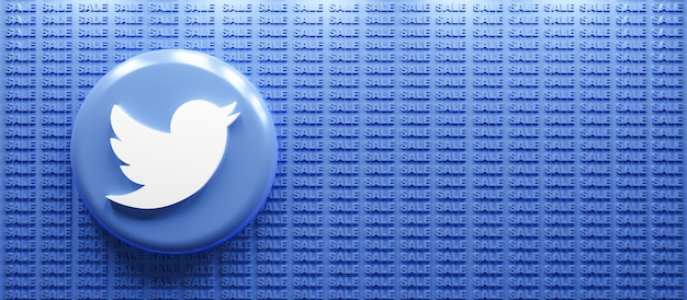 판매 텍스트 배경으로 3d 렌더링 트위터 로고