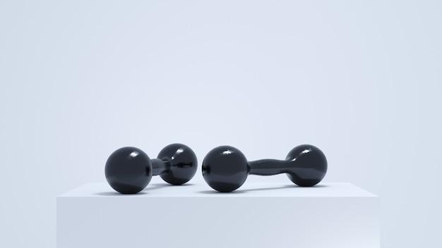 3dレンダリング。白い表彰台で分離された2つの黒いダンベル