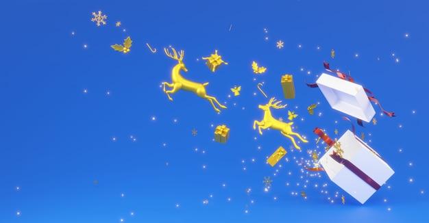 3d-рендеринг двух золотых оленей прыгает из белой подарочной коробки с красной лентой и снежинками на синем фоне.