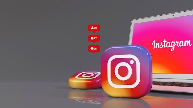3d rendering of two instagram badges in front of a notebook with the app logo on the screen