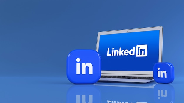 3d rendering of two linkedin square badges in front of a notebook in blue background