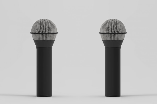 3d rendering. two microphone with clipping path isolated on white background.