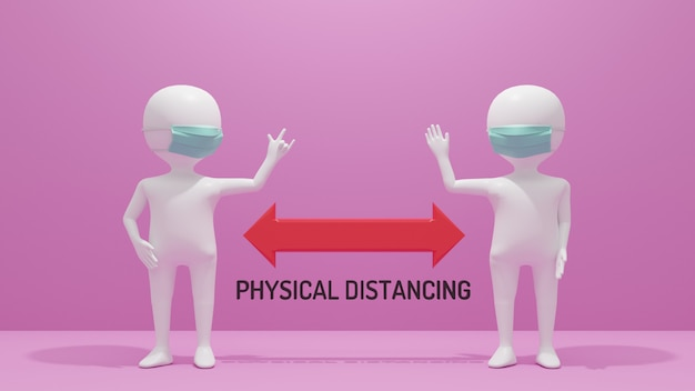 3d rendering two white stickmen keeping distance